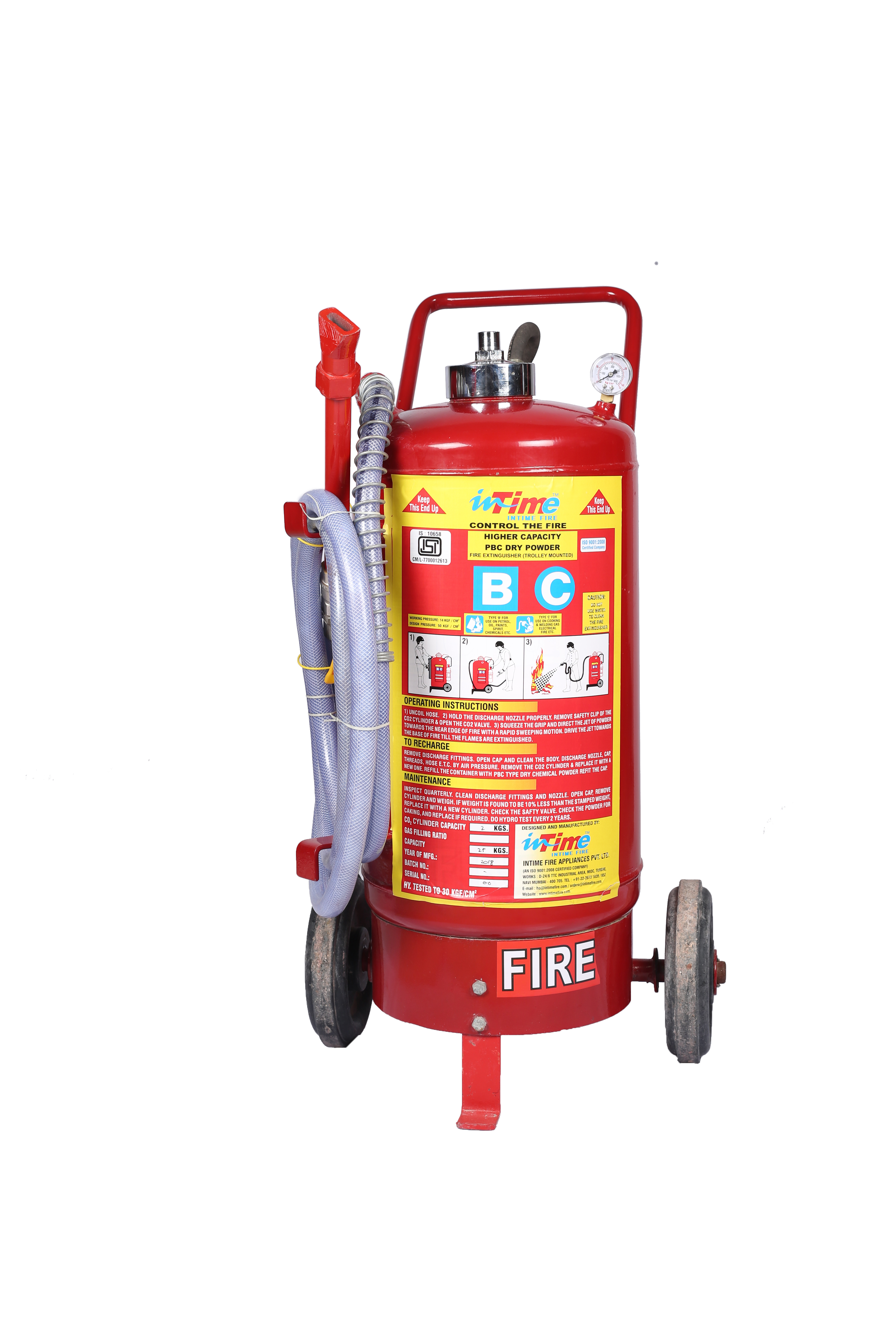 Higher Capacity Stored Pressure Trolley Powder Fire Extinguishers